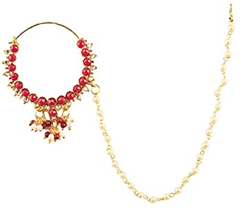NEW! Touchstone Indian Bollywood Desire Faux Pearls Faux Ruby Designer Bridal Jewelry Nath  Nose Accessory  In Gold Tone For Women.