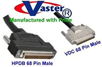SCSI Cable, SCSI-5 (VHDCI) 0.8mm Male to SCSI-3 (HPDB68) 68-Pin Male Cable, 6 Ft