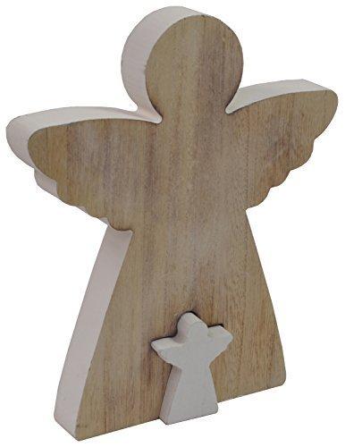 CHICCIE Jeu DE 2 Ange engelica Figurine Bois 12cm 16CM 23cm - Noël Déco Nature Objet - (HxB) Ca. 23cm x 20cm