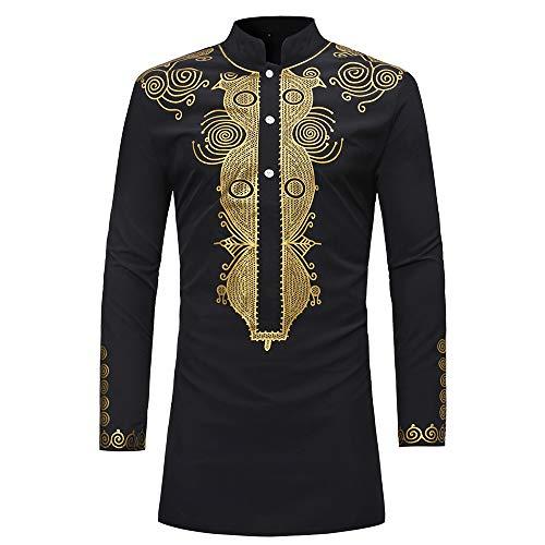 Clearance! iYBUIA Men's Autumn Winter Luxury African Print Long Sleeve Dashiki Shirt Top Blouse(Black,L)