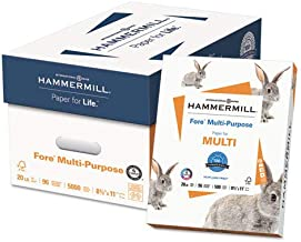 Hammermill 103267 Fore MP Multipurpose Paper, 96 Brightness, 20lb, 8-1/2x11, White, 5000/Carton