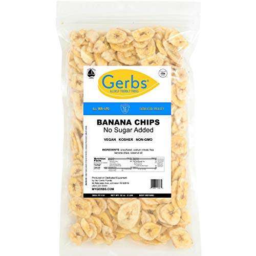 GERBS Unsweetened Banana Chips, 32 ounce Bag, Unsulfured, Preservative, Top 14 Food Allergy Free