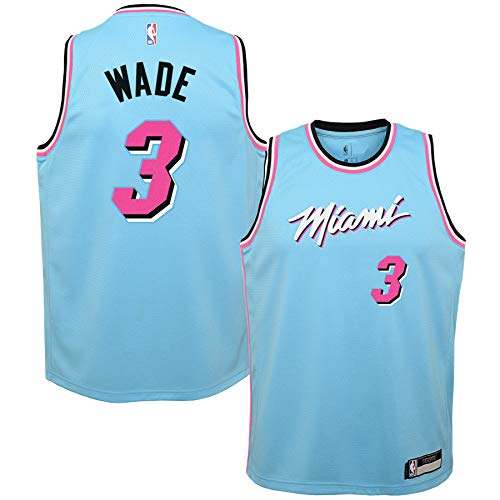 Outerstuff Dwyane Wade Miami Heat #3 Youth 8-20 Blue City Edition Swingman Jersey (Youth Medium 10/12)