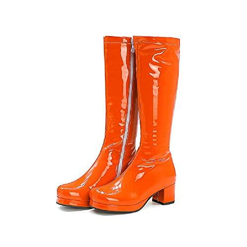 NANFAN Femmes Bout Rond Western Cowgirl Cowboy Bottes Classique en Cuir Déguisements Bottes De Fête De Mode Chevalier Chaussures D'équitation,Orange-37