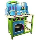 TikTakToo Kinderküche in frischen Farben ~ apfelgrün~blau~Natur~ mit witzigen Akzenten Kinderspielküche Holzspielküche Spielzeugküche Holzküche Holz Küche