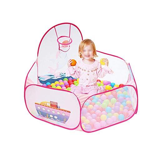 JALAL Klappbarer Baby-Laufstall mit Basketballkorb, Sicherheits-Sechskant-Kleinkindspielplatz, Anti-Rollover-Raumteiler in Rosa, 47 × 28 Zoll