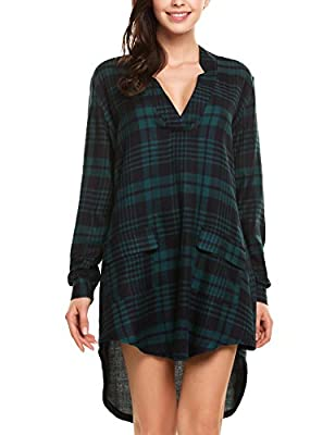 Zeagoo Clearance Women's Long Sleeve V Neck Loose Shirt Dress Plaid Flannel Checkered Shirt