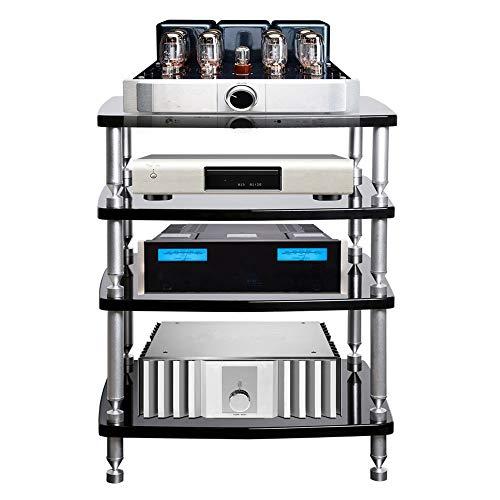 OTENGD Torre Video Audio a 4 Livelli, Supporto multimediale con Gamba in Lega di Alluminio, Scheda Impermeabile E1, per TV, Console di Gioco, componente multimediale, dispositivi di Streaming