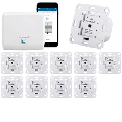 Homematic IP Rolladensteuerung Komplettset XXL für die Steuerung von 10 Rolladen. Vollständig mit Smartphone Steuerung, Zentrale, 10 Aktoren. Ideal für Hausbau oder zum Nachrüsten. Alexa kompatibel.