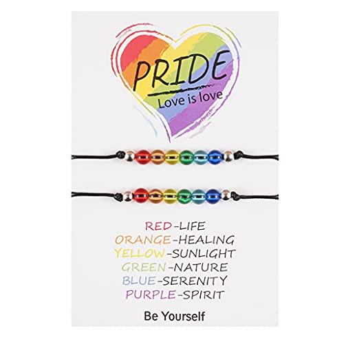Gergxi Pulsera de pareja, Pulsera de Orgullo Arco Iris Creativo Hecho a Mano Trenzado de la Amistad Pulsera de Cadena para Gay Lesbiana Pulsera de Tamaño