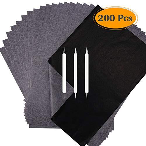 Selizo Transparentpapier und Kohlenpapier, Schwarz, Grafit Transferpapier, mit Stift, für Holzverbrennung, Holzschnitzereien und Durchzeichnen
