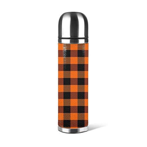 Art Fan-Design - Botella de agua de acero inoxidable, diseño de búfalo escocés, color naranja y negro con aislamiento al vacío, de piel a prueba de fugas, doble pared, contenedor de viaje, termo de 500 ml