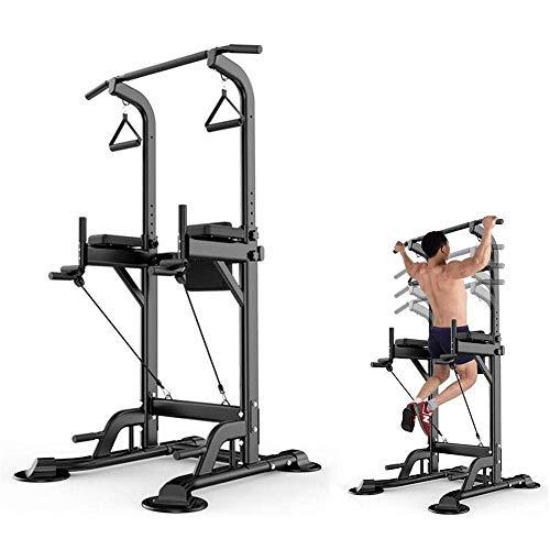 LJYY Torre de energía Ajustable Chin-Up Stand Multifunción Abs Workout Fitness Equipment Cómodo Respaldo Diseño Estación de Entrenamiento para Gimnasio en casa Negro