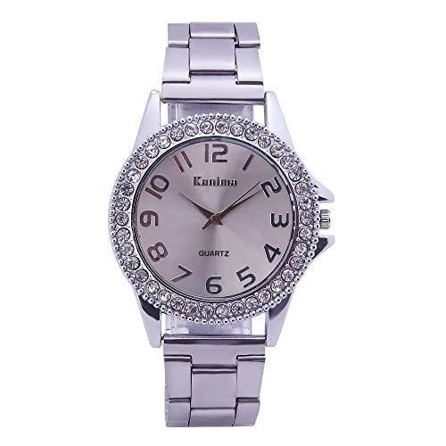 WLKVUOT Frauen Quarzuhren Mode Einfach Diamant Dekor Quarz Armbanduhr Edelstahlband Uhr Silber