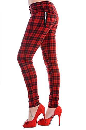 Pantalones estilo punk de Banned Clothing, cuadros tartán rojo, ajustados, con cremalleras Rojo rosso 40