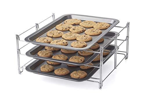 Betty Crocker BC4414-3410 - Bandeja de horno de 3 niveles con 3 hojas antiadherentes para galletas, talla única, color carbón y cromo