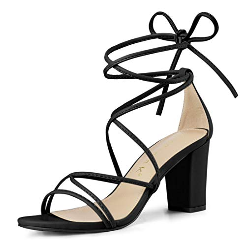 Allegra K Women's Strappy Straps Lace Up Chunky Heel Black Sandals - 7 M US