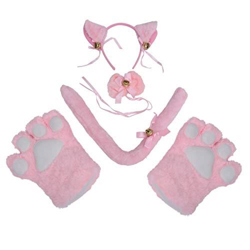 NUOBESTY ein satz kreative katze cosplay kostüm schwanz ohren kragen pfoten handschuhe für halloween karneval weihnachten kostüm dekoration (rosa) 5 stücke