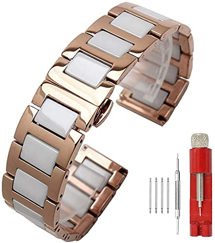 Shieranlee Correa de Reloj de Lujo Correas de Reloj de Acero Inoxidable, Cierre desplegable, Correa de Reloj de Metal para Hombres y Mujeres, 14 mm, 16 mm, 18 mm, 20 mm, 22 mm