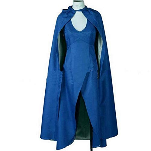 QZXCD Halloween mantel Carnaval Game Of Thrones Cosplay Daenerys Bruiloft Jurk Kostuum Halloween Party Lange Blauwe Jurk Sexy Blauw Jurk Mantel