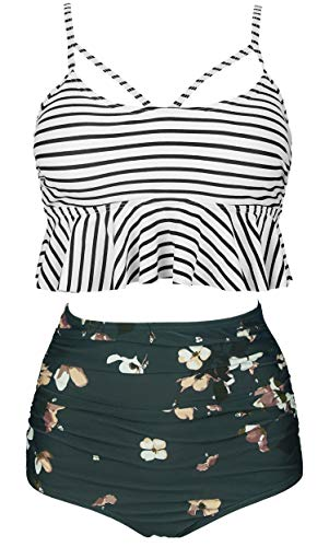 COCOSHIP Black White Striped & Bloom Floral Falbala High Waist Bikini Set Crisscross Hollow Out Swimsuit Travel Swimwear XXXL(US14)