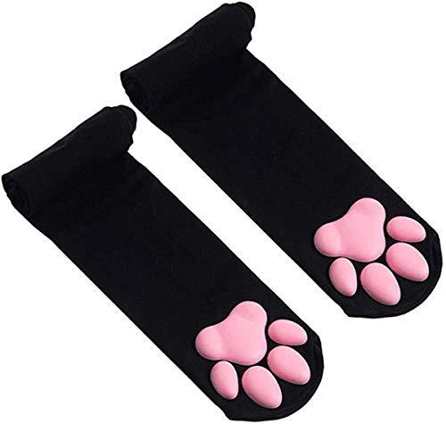 Katzenfleisch Kissen Cos Kniestrümpfe Katze Strümpfe Pfoten Socken Lolita Overknee Socken, Oberschenkel Hohe Socken, Süße Katze Pfoten Pad Socke für Frauen Kätzchen Strumpf (Schwarz)