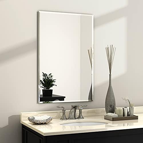 KOHROS Rectangle Beveled Polished Frameless Wall Mirror for Bathroom, Vanity, Bedroom (20' W x 28' H Rectangle)