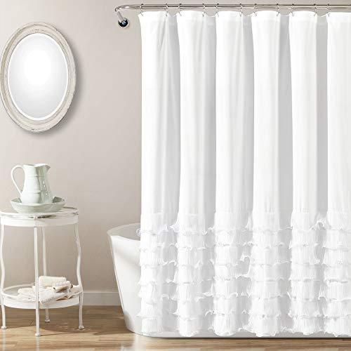 "Lush Decor Avery Shower Curtain Ruffled Shabby Chic Farmhouse Style Bathroom, 72"" x 72"", White"
