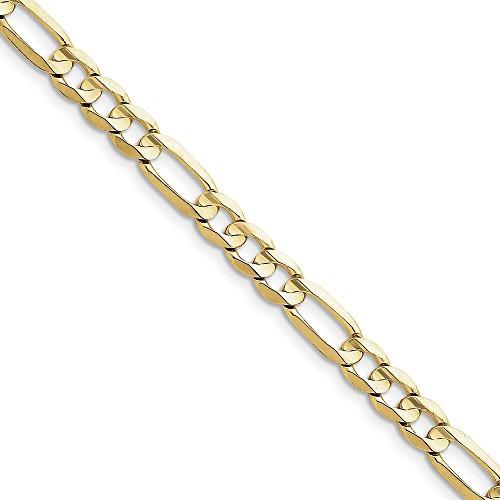 Bracciale in oro giallo 10 kt, 6,75 mm, con catena ro, lunghezza 20,3 cm, per uomo e donna