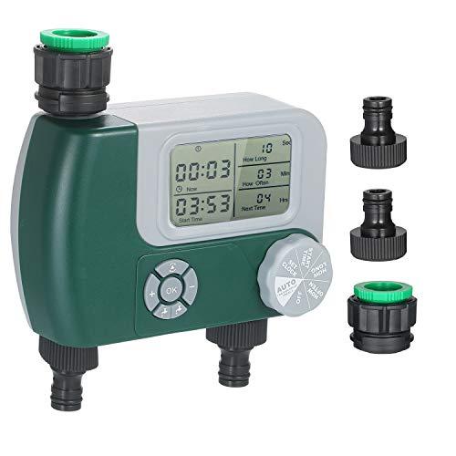 Kecheer Programador de riego doble automatico,Temporizador agua riego 2 Salidas,Temporizador de manguera Controlador,Rociador de jardín