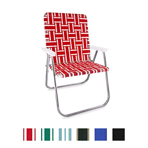 Lawn Chair USA Webbing Chair (Classic, Red and White with White Arms)