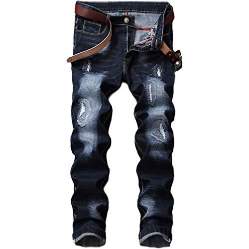 Beastle Pantalones Vaqueros para Hombre, Personalidad Europea y Americana, Pantalones Vaqueros Delgados y Rectos Rasgados, Pantalones Vaqueros Casuales de Cuatro Estaciones 29