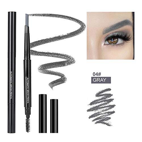 Crayons et maquillage pour sourcils avec brosse, triangulaire stylo à tête double rétractable rétractable imperméable et durable(gris)