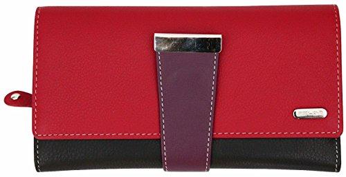 Damen Geldbörse mit 24 Fächern & RFID-Blocker - aus Echtleder - großes Fassungsvermögen - Rot Mehrfarbig