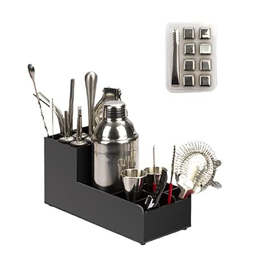 RRFZ 20-teiliges Cocktail-Shaker-Set, Cocktail-Zubereitungs-Set Mit Lagerregal Und Rezeptanleitung, Professionelles Edelstahl-Bar-Werkzeug-Set Für Home & Bar