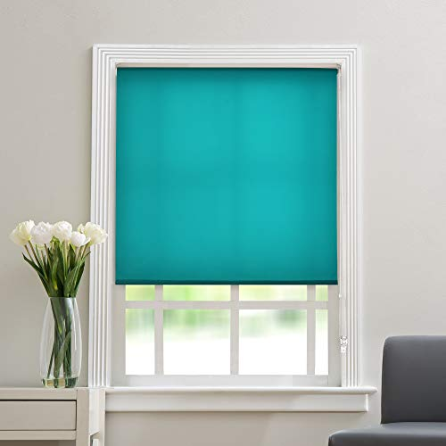 Deco Window Customized Polyester Blend Corded Semi-Blackout Roller Blinds for Windows Door Office Home Decor Curtains (42' Wide X 84 Long, Teal)