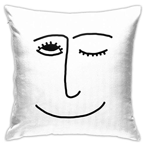 NotApplicable Cushion Case Winky Face Pillow Party Throw Pillow Covers Pillowcase Cozy Anime Cushion Cover Pillowslip Sofa 45X45Cm Home Office Couch Standard Cute Decorative Fashionable Zipper