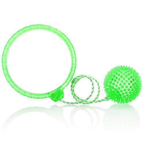 com-four® giroscopio de pie con luz - Pelota de Salto para niños - Bola oscilante Colorida de Tobillo Intermitente - Sáltate (Verde)
