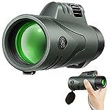 Telescopio Monocular para Adultos AUCRSOZK 12x42 Alto Potente Impermeable HD Monoculares con BAK4 FMC Prisma Correa de Mano para Observación de Aves Caza De Viaje Senderismo - Verde