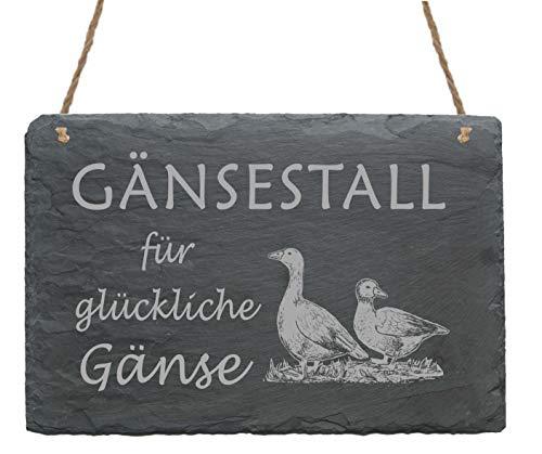 Wetterfestes Schild Gänsestall für glückliche Gänse - aus Schiefer - 22x16