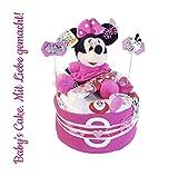 Windeltorte Minnie Mouse für Mädchen (Disney)/Diaper Cake Babys-Cake Baby Geschenk/Geschenk zur Geburt, Taufe, Babyparty, für Mädchen und Jungen