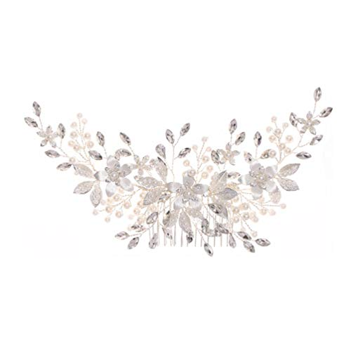 FRCOLOR Peine para El Cabello de La Boda Pinza de Pelo Floral de La Perla Accesorio de Clip de Flor de La Novia para El Cabello Blanco