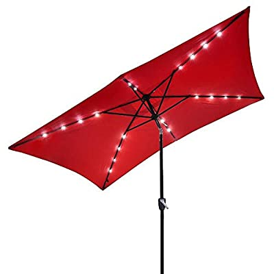 Rectangular Outdoor Umbrella with Solar LED Lights 10' X 6.5'