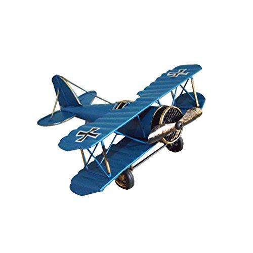 VORCOOL Vintage Flugzeug Modell Metall Doppeldecker Flugzeug Skulptur Dekoration Geschenkidee (Blau)