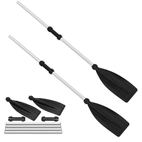 Baoniansoo Paleta de Canoa de Aluminio Desmontable de 2 x 128 cm, Pala de Kayak, aleación de Aluminio Ligera, Desmontable, Adecuada para Kayak Inflable