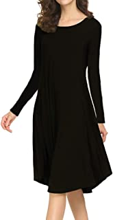 Locryz Women's Loose Fit Swing Midi T Shirt Dress with Pockets
