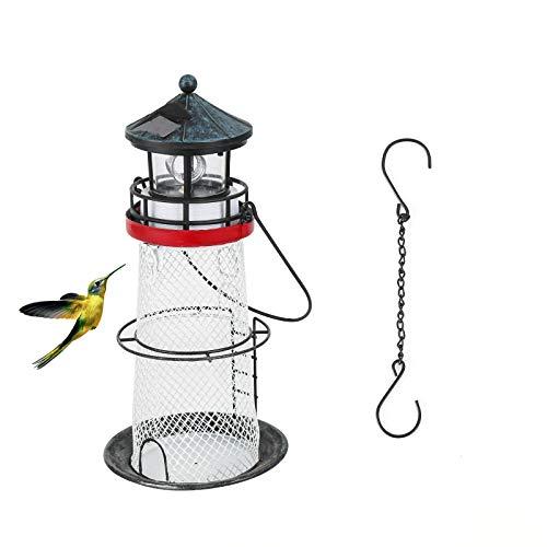 Spsods Wild Bird Feeder with Solar LED Light Portable Hanging for Garden Yard Decoration Seed Feeder Hanging Lantern