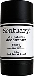 Zentuary Aluminum Free Natural Deodorant (Unscented w/Activated Charcoal) Works All Day! - Organic, Non Toxic - Phthalate, Paraben, Gluten & Cruelty Free - Natural Deodorant for Women, Men & Kids