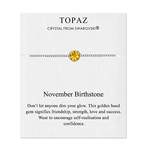 Philip Jones November (Topaz) Birthstone Bracelet Created with Austrian Crystals