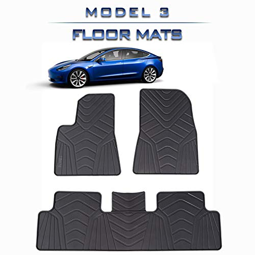 Tmate Tesla Model 3 Floor Mats, All Weather Non-Odo Eco-Friendly Heavy Duty Genuine Rubber Latex Material Flexible Floor Protection All Season, Fits 2017 2019 Accessories Front and Rear 3 Pieces Set